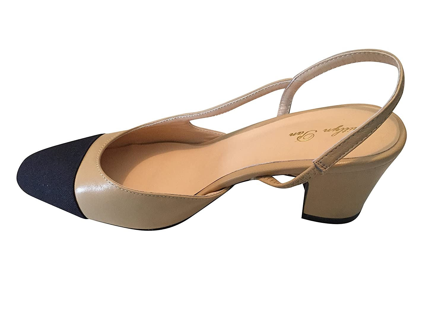 9646fafc89845 Amazon.com | Kaitlyn Pan Genuine Leather Two Tone Block Heel Slingback  Sandals | Pumps