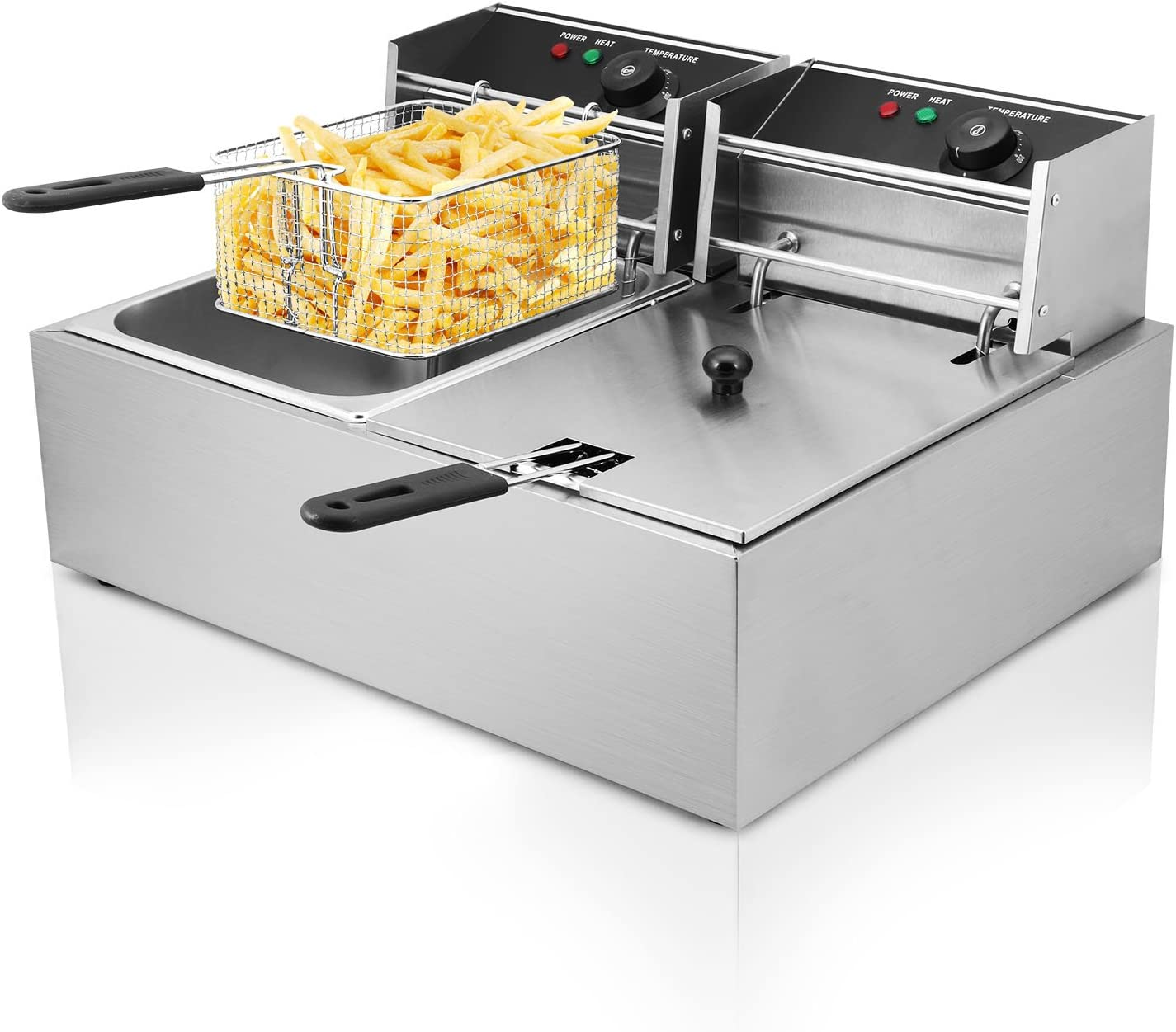 Autocompra Freidora Eléctrica 12L 5000W Freidora Industrial Acero Inoxidable para Patatas Fritas Deep Fryer Commercial ( 6L + 6L Tanque con accesorios )