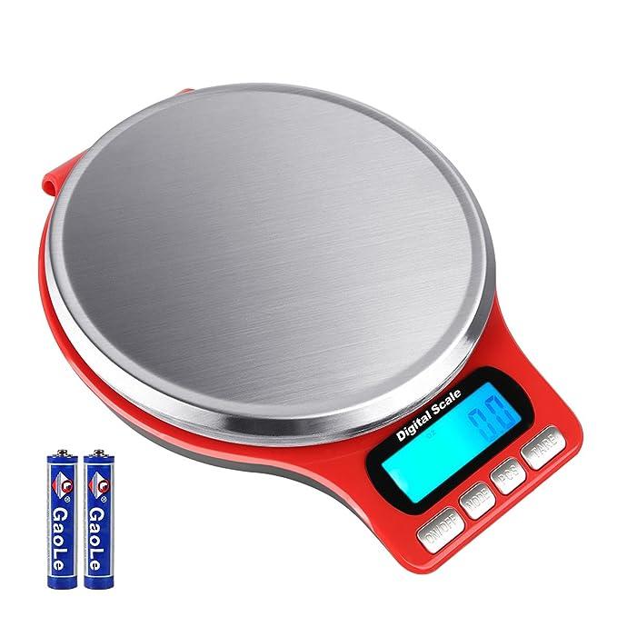 Aocerbek Básculas de Cocina Digitales de 11lb/5kg con Plataforma de Acero Inoxidable de Cocinar Eléctricas con Pantalla Retroiluminada Pantalla LCD Tara ...