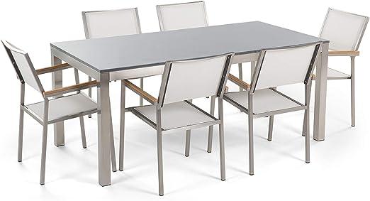 Beliani Conjunto de jardín Mesa con Tablero Gris de Piedra Natural 180 cm, 6 sillas Blancas GROSSETO: Beliani: Amazon.es: Juguetes y juegos
