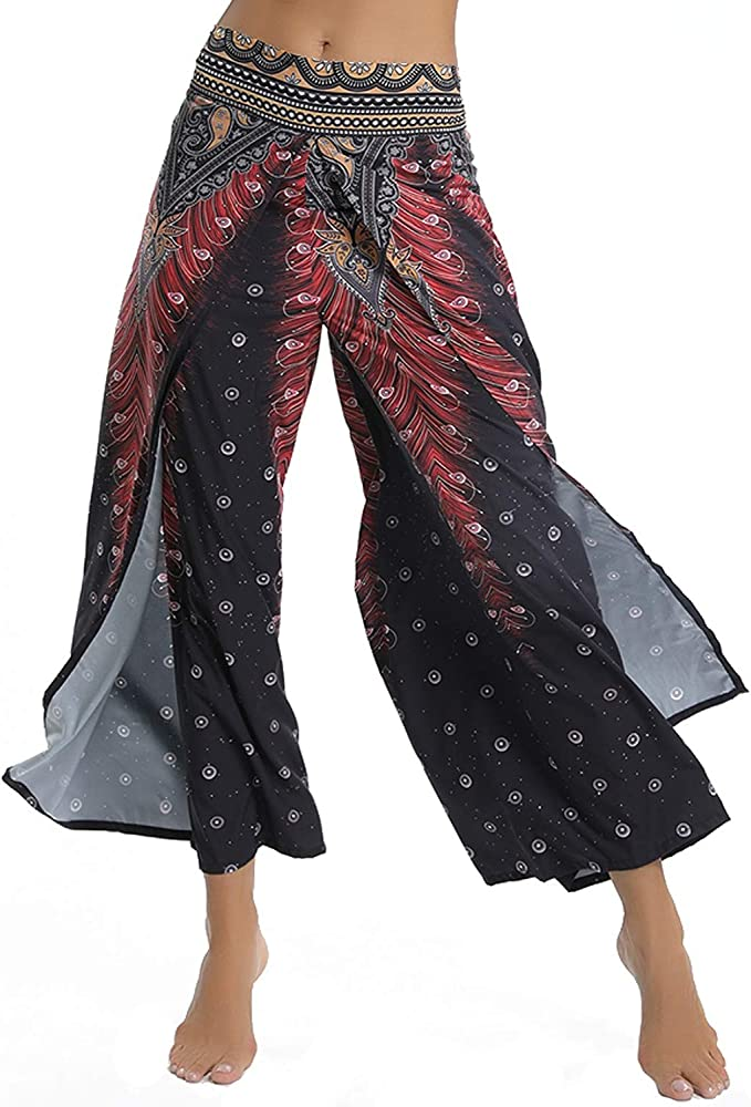 Womens Printed Yoga Pants High Waist High Slit Flare Palazzo Casual Lounge