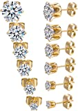 Bling'ed Out Unisex 18K Gold Plated CZ Stud Stainless Steel Earrings w/Simulated Diamond Round Cubic Zirconia Crystals - Ear Stud Set(6 Pairs) - 850 SStud Gold