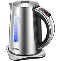 Electric Kettle 2nd Gen Variable Temperature Kettle, Food Grade 304 Stainless Steel Kettle, 1500W Ultra Fast Water Boiler, 100% BPA Free, 2 Hour Stay Warm Function and LED Indicator Light, 1.7L, Aicok