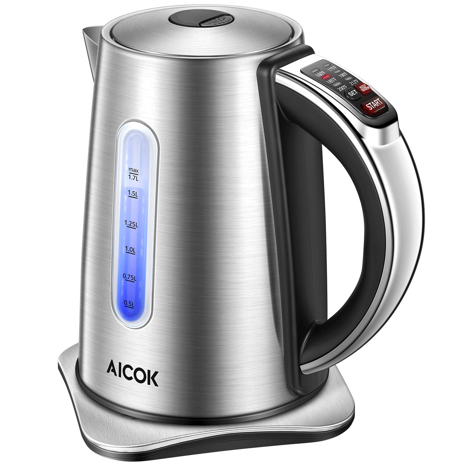 Electric Kettle 2nd Gen Variable Temperature Kettle, Food Grade 304 Stainless Steel Kettle, 1500W Ultra Fast Water Boiler, 100% BPA Free, 2 Hour Stay Warm Function and LED Indicator Light, 1.7L, Aicok by AICOK (Image #1)