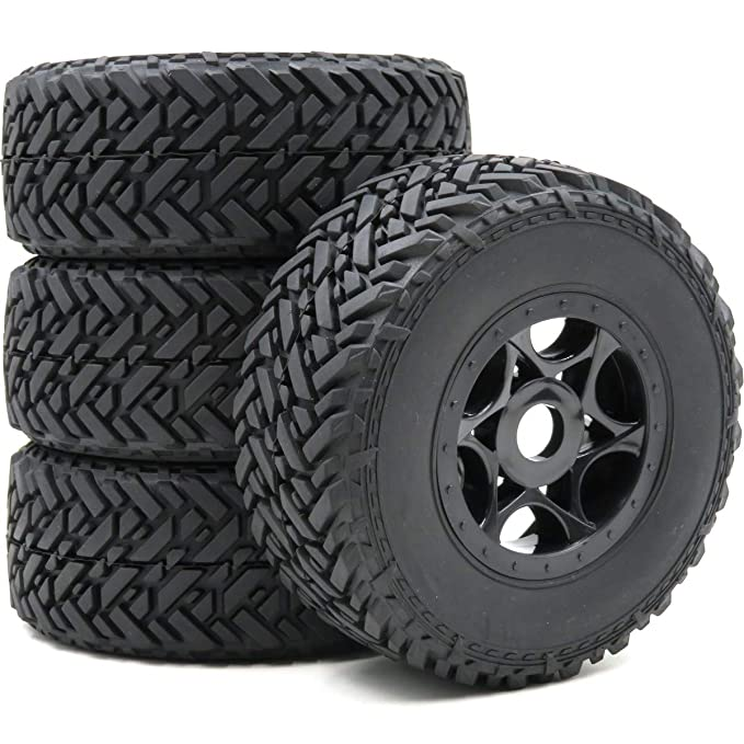 Off Road Rims And Tires Package >> Amazon Com 4pcs Rc 1 8 Buggy Off Road Short Course Tires Hex 17mm
