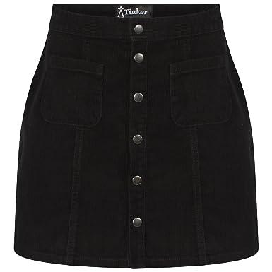 3004599dbd Tinker Ladies Black Cord A-Line Skirt 6 to 18  Amazon.co.uk  Clothing