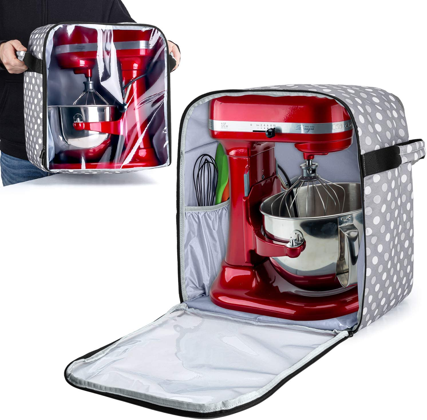 Luxja Dust Cover for 6-8 Quart KitchenAid Mixers (with a Bottom Padding Pad) and 4 Slice Toaster Cover Bundle
