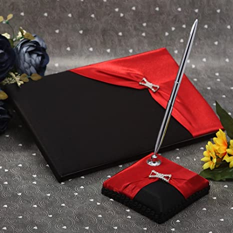 Amazon.com  KateMelon Wedding Accessories Black and Red Guest Book with Pen  Set  Office Products 3931b3c773f6
