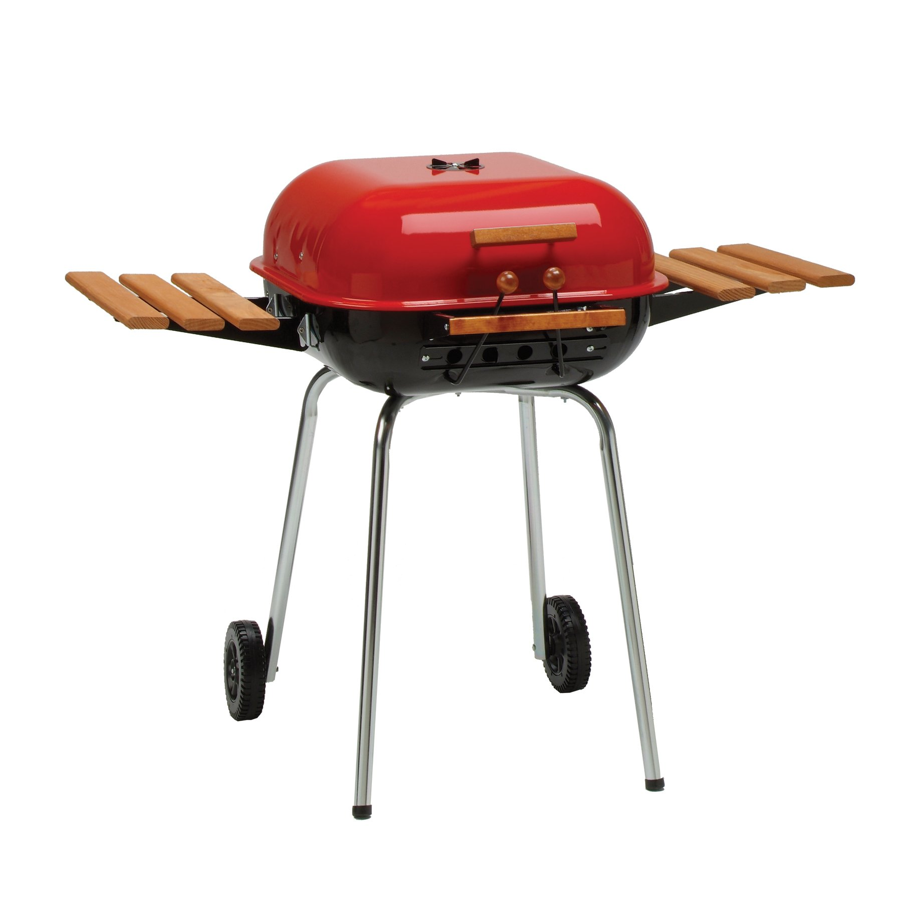 Americana The Swinger with two folding composite-wood side tables and a six-position cooking grid