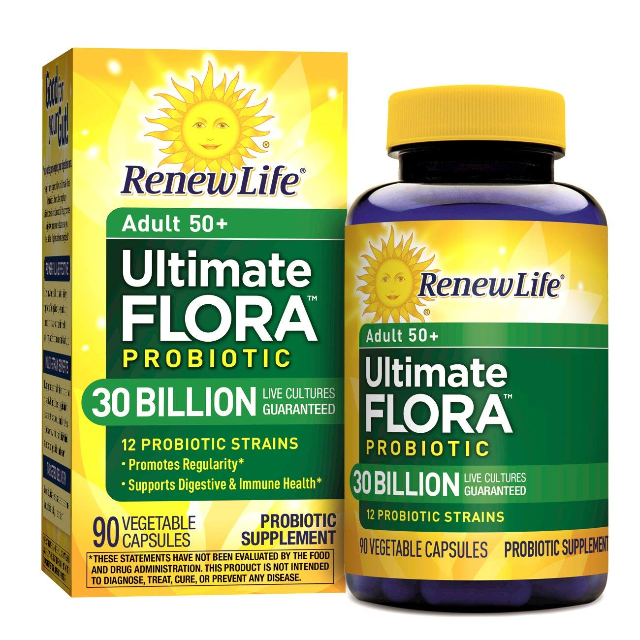 Renew Life Adult 50+ Probiotic - Ultimate Flora Probiotic, Shelf Stable Probiotic Supplement - 30 Billion - 90 Vegetables Capsules (Packaging May Vary)