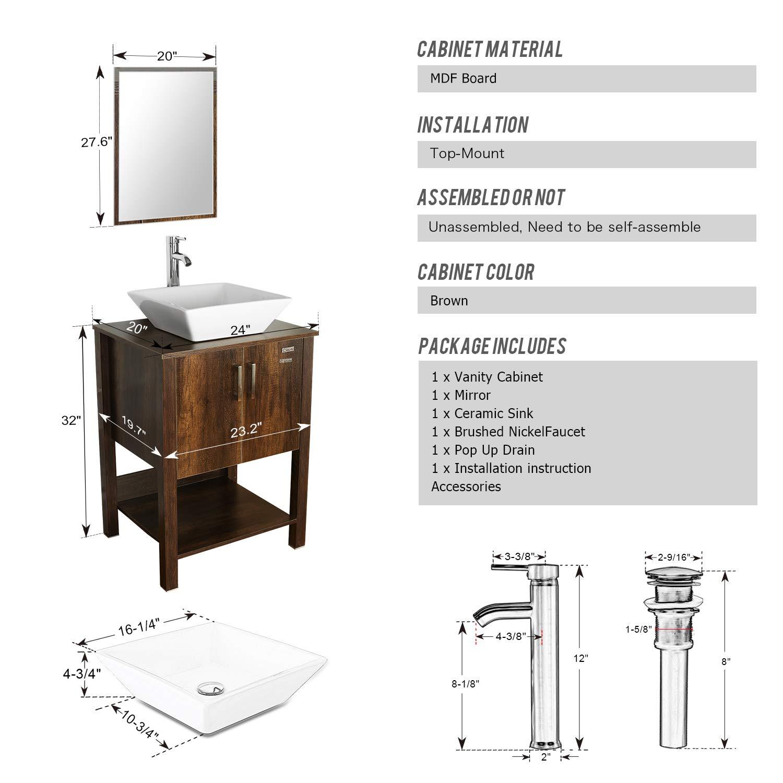 Cheap Eclife 24 Quot Bathroom Vanity Sink Combo Brown Cabinet