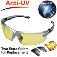 Safeyear Anti UV Cycling Glasses [3 Interchangeable Lens] -SG008 Anti Fog Mirror Safety Sunglasses for Men & Women, Clear Ladies Photochromic Cycle Glasses, Ski, Fishing, Drive, Running etc