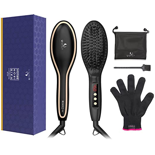 USpicy US-FS005 Hair Straightener Brush with FREE Heat Resistant Glove Hair Straightening Brush for Silky Frizz-free (450℉/230℃, Adjustable Temperature, Auto Lock, 30-min Timer, Anti-Scald)