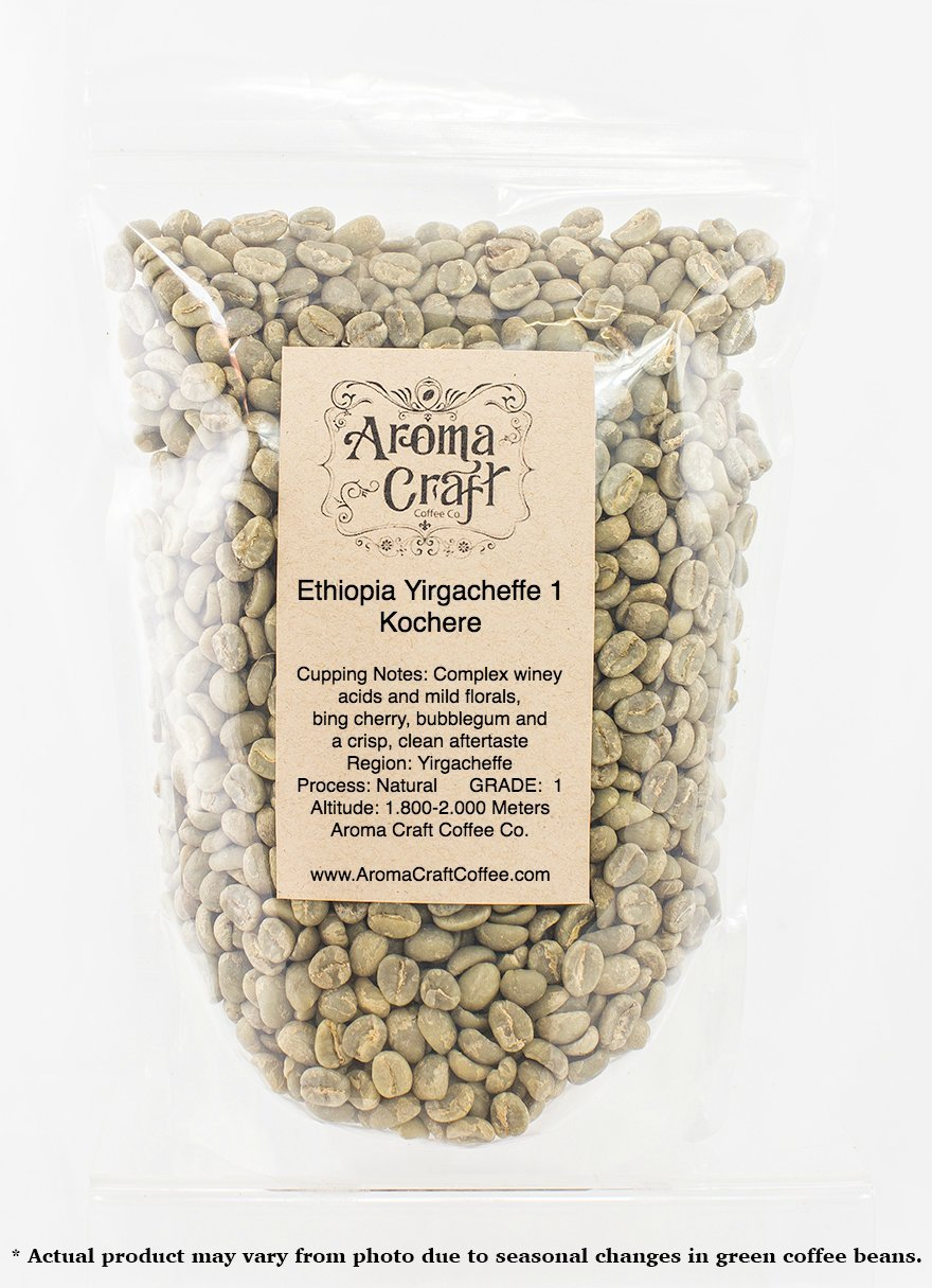 Triple Picked Ethiopia Yirgacheffe 1 Kochere Natural Process Unroasted Green Coffee Beans (10 LB) by Aroma Craft Coffee