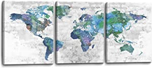Wall Art for Living Room World Map Prints Pictures Framed Canvas Artwork Wall Decor for Bedroom Office Kitchen Modern Home Decorations Size 12x16 inch x 3 Panel Ready to Hang World Map Decorations