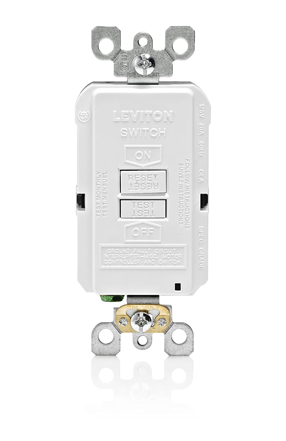 Leviton X7590 W 20 Amp 125 Volt Smartlock Pro Slim Blank Face Gfci Gardner Bender Gfi3501 Ground Fault Receptacle Tester And Circuit White Interrupter Outlets