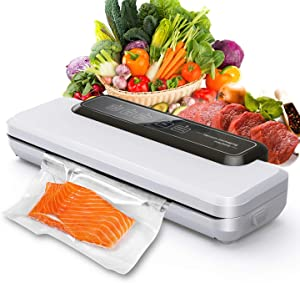 HHSUC Vacuum Sealer Machine,Automatic Food Sealer Sealing System for Food Saver | Dry & Moist Food Modes | Led Indicator Lights | Includes 10 Precut Bags