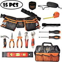 Mysterystone Kids Tool Set 14 Pieces Pretend Construction Play Toys Accessories with Real Hand Tools Kids Tool Belt Pouch Bag for Home DIY Woodworking Projects and Costumes Dress Up Role Play