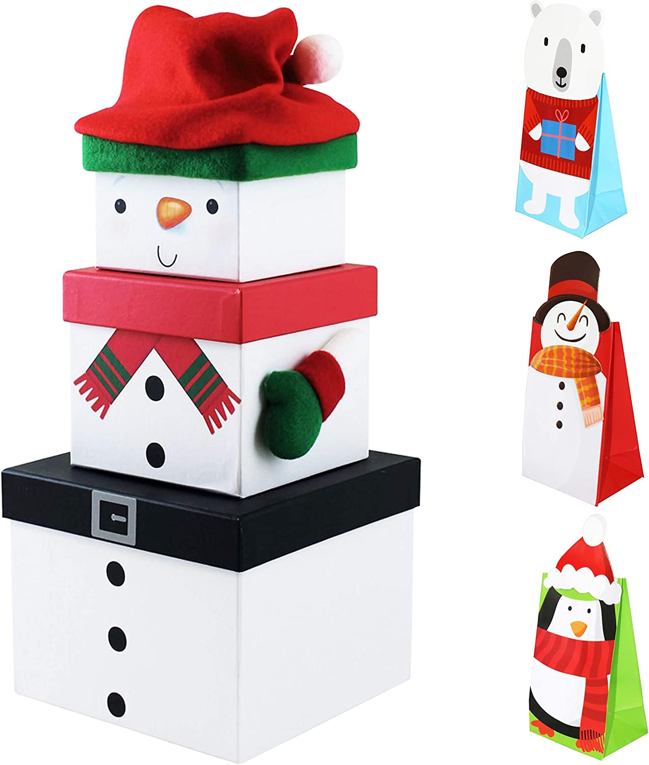 Penguin Oxford Novelties 3 Stack-able Nest Gift Present Boxes Christmas Eve Characters With 1 Treat Bag