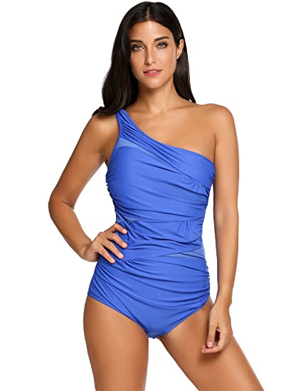 cc2baefaa2 Elaver Monokini Beachwear Women's Ruched Pure Color Padded Swimsuit (Blue,  Small)
