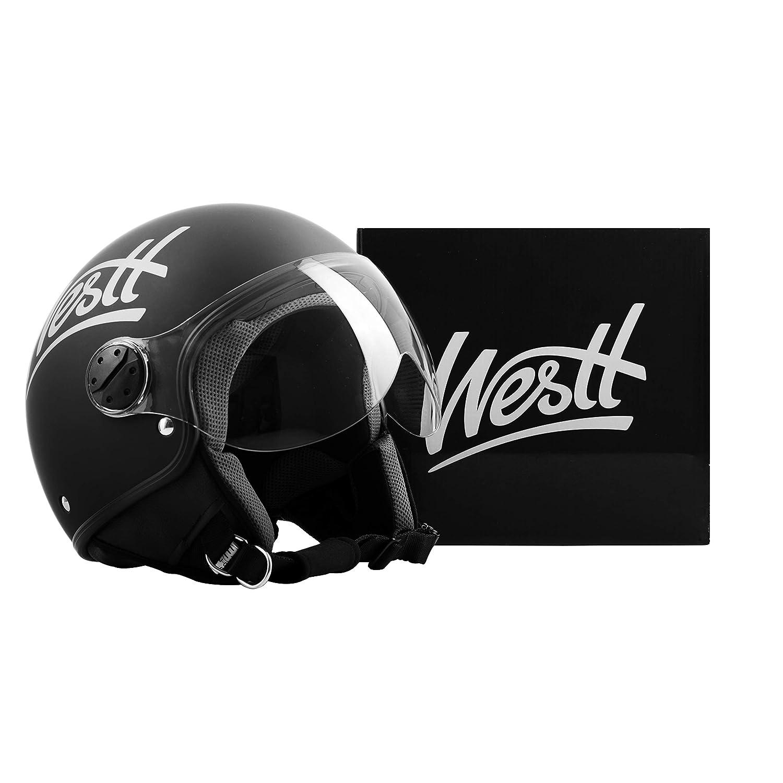 ECE Homologu/é Westt Classic Casque Moto Jet Vintage en Noir Mat pour Scooter Chopper Casque de Moto Homme et Femme Demi-Jet