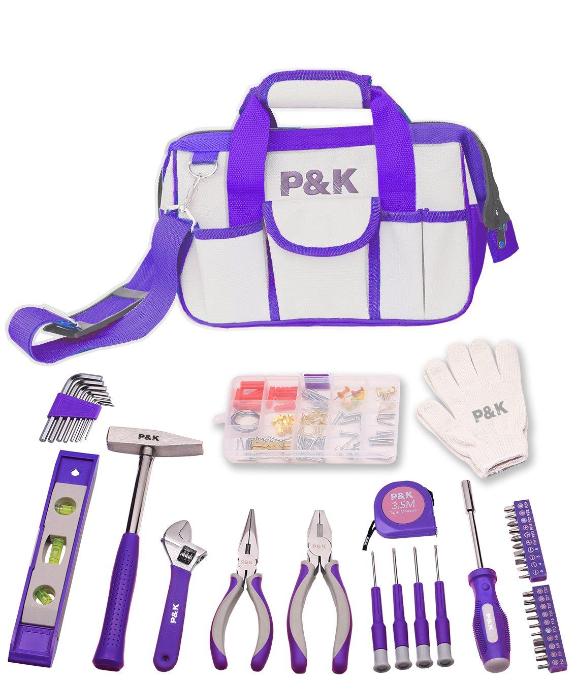 Set 141/Outils Violet id/ées cadeau sac /à outils Bo/îte /à outils No/ël