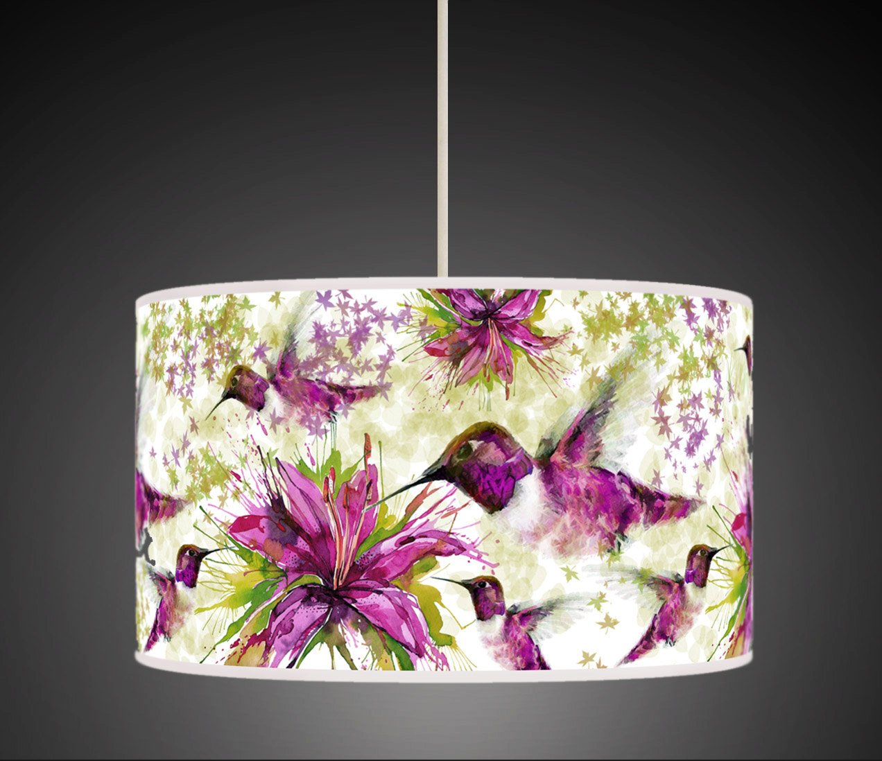 30cm purple green flower hummingbird watercolour handmade giclee 30cm purple green flower hummingbird watercolour handmade giclee style printed fabric lamp drum lampshade floor ceiling pendant light shade 634 mozeypictures Images
