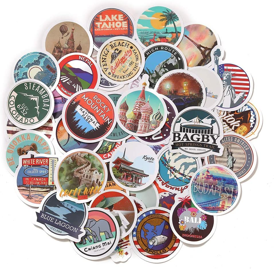 50pcs World Famous Tourism Country & Regions Logo Waterproof Stickers -Travel Map National Flag, Idea for Luggage Skateboard Laptop Luggage Suitcase Book Covers etc (Tourist Wonders)