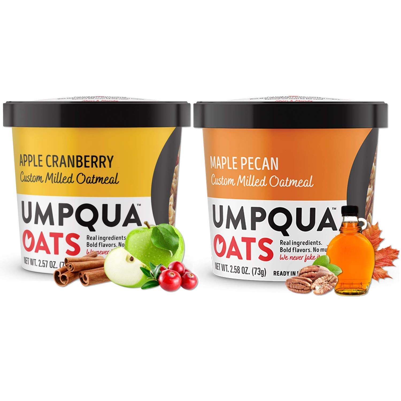 Umpqua Oats - Combo - All Natural, Premium Oatmeal Cups - No Mush, Custom Milled (Apple Cranberry, Maple Pecan) 16 cups