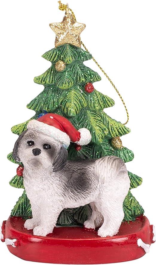 Sandicast Gold and White Shih Tzu with Santa Hat Christmas Ornament