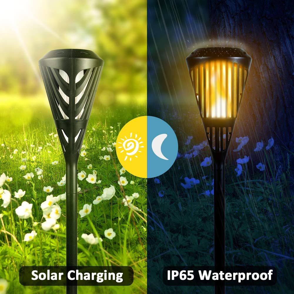 KINDEEP Solar Torch Lights Waterproof Flickering Flames Torches Lights Upgraded Outdoor Spotlights Landscape Decoration Lighting Dusk to Dawn Auto On/Off Security Torch Light for Patio Driveway-2Packs