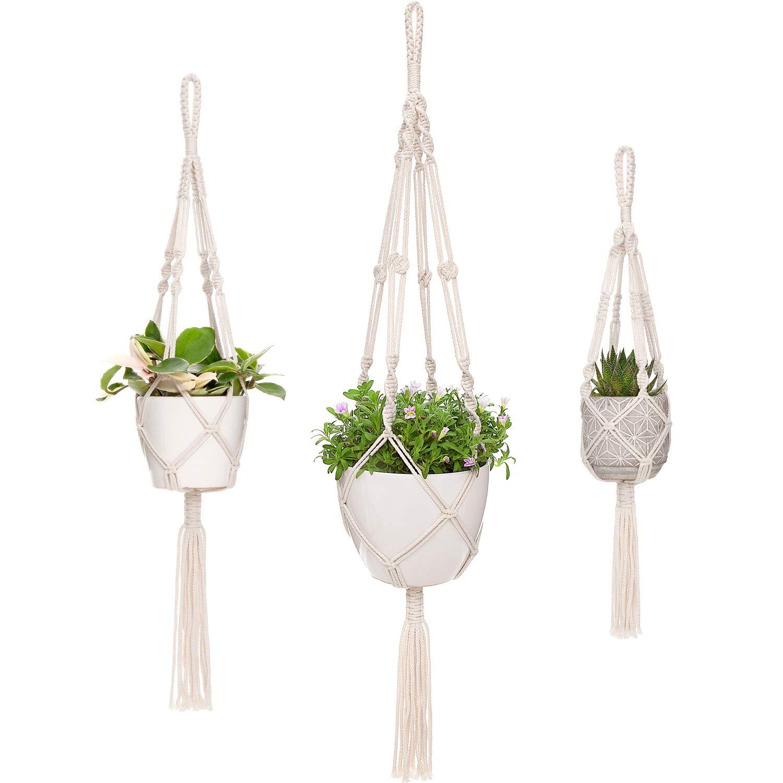 Mkono Macrame Plant Hangers 3 Different Sizes Hanging Planter for Indoor Outdoor Flower Pot Holder Boho Home Decor