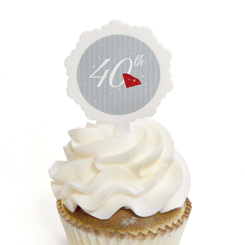 Amazon.com: 40th Anniversary - Cupcake Picks with Stickers ...