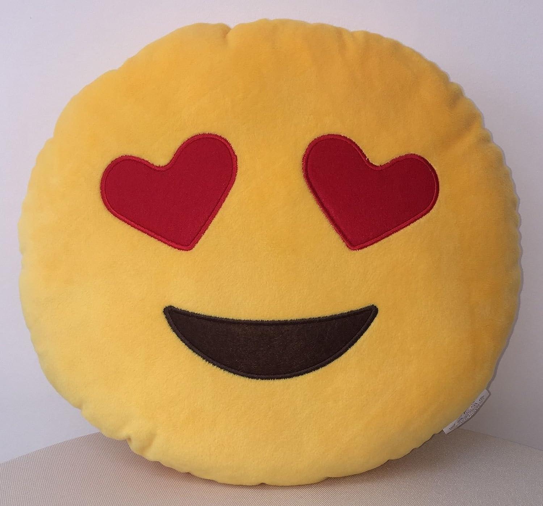 New 32cm 50cm Emoji Smiley Emoticon Yellow Brown Rainbow Poo Tongue Out  Round Cushion Pillow Stuffed Plush Soft Toy (REGULAR - 32CM DIAMETER, Heart