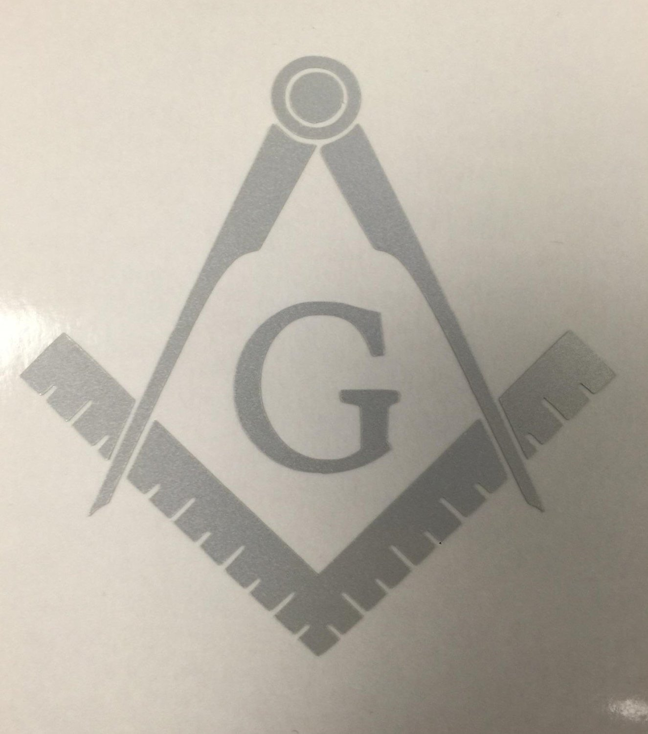 White Reflective C60492 Masonic Series Freemason Compass Square Decal 5x5 Check6