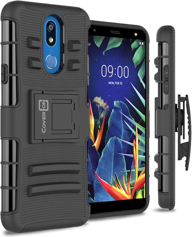 CV1 Black - Hybrid Armor Phone Case w//Stand//Belt Clip Holster for LG K51 CELZEN LM-K500