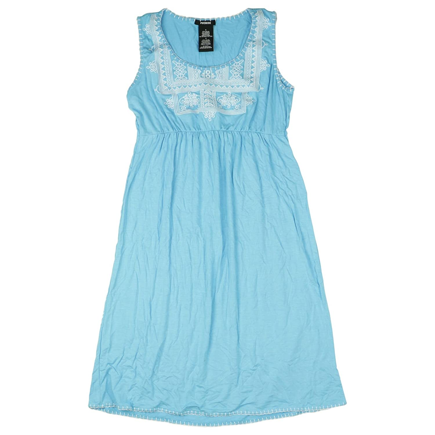 Premise Womens Size Small Embroidered Sleeveless Dress, Blue Surf at Amazon Womens Clothing store: