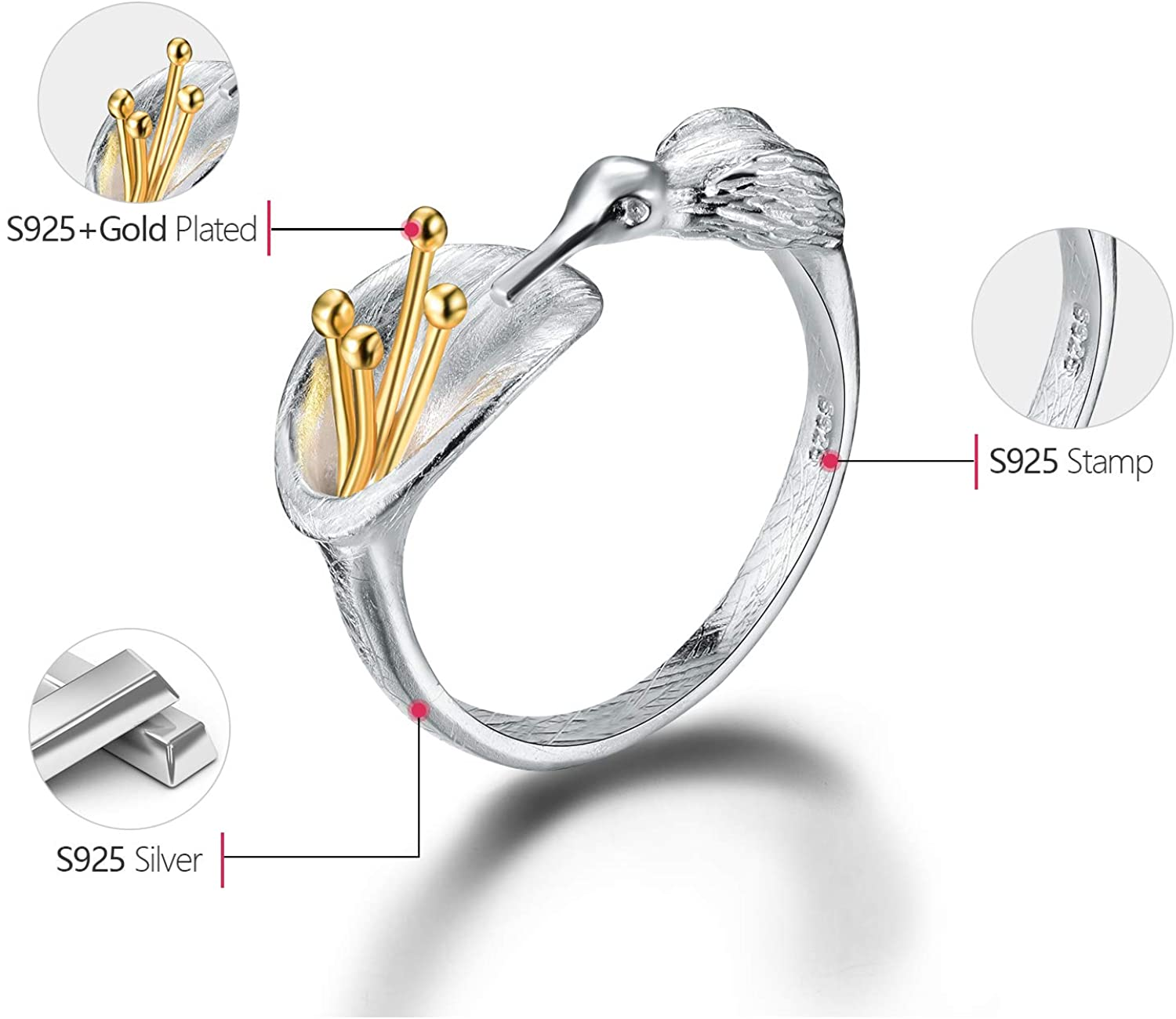 Esberry S925 Sterling Silver Rings Hummingbird Rings Adjustable Rings Unique Fashion Handmade Jewelry for Women and Girls