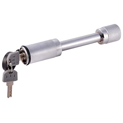 """MaxxHaul 70050 Heavy Duty 5/8""""- Hitch Locking Receiver Pin With 2 Keys,Chrome: Automotive"""