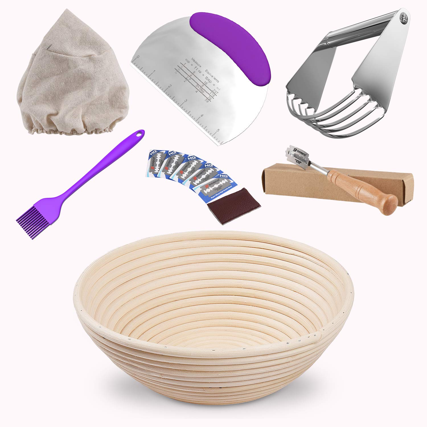 10''Banneton Proofing Basket Set-Bread Proofing Basket with(Dough Blender,Stainless Steel Dough Scraper,Bread Lame,Silicone Basting Brush,Sourdough Basket, Cloth Liner)for Professional Home Baking Tool