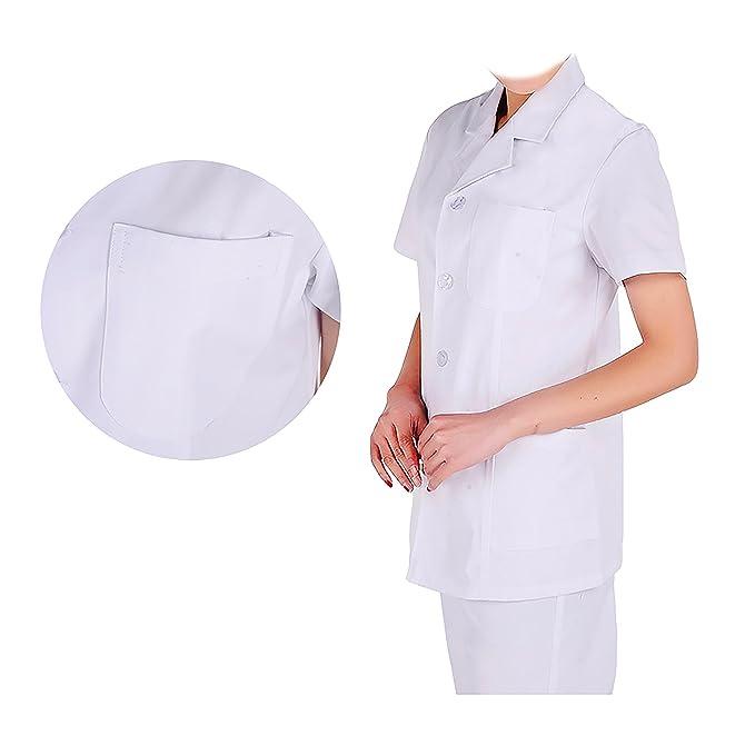 WDF Bata de Laboratorio médicos Bata Uniforme de Trabajo Enfermera Blanco Mujer Manga Corta Corto párrafo: Amazon.es: Ropa y accesorios