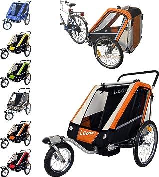 Leon paplioshop plegable bicicleta colgante Buggy con rueda delantera, para 1 o 2 niños, una puerta, New Arancio: Amazon.es: Deportes y aire libre