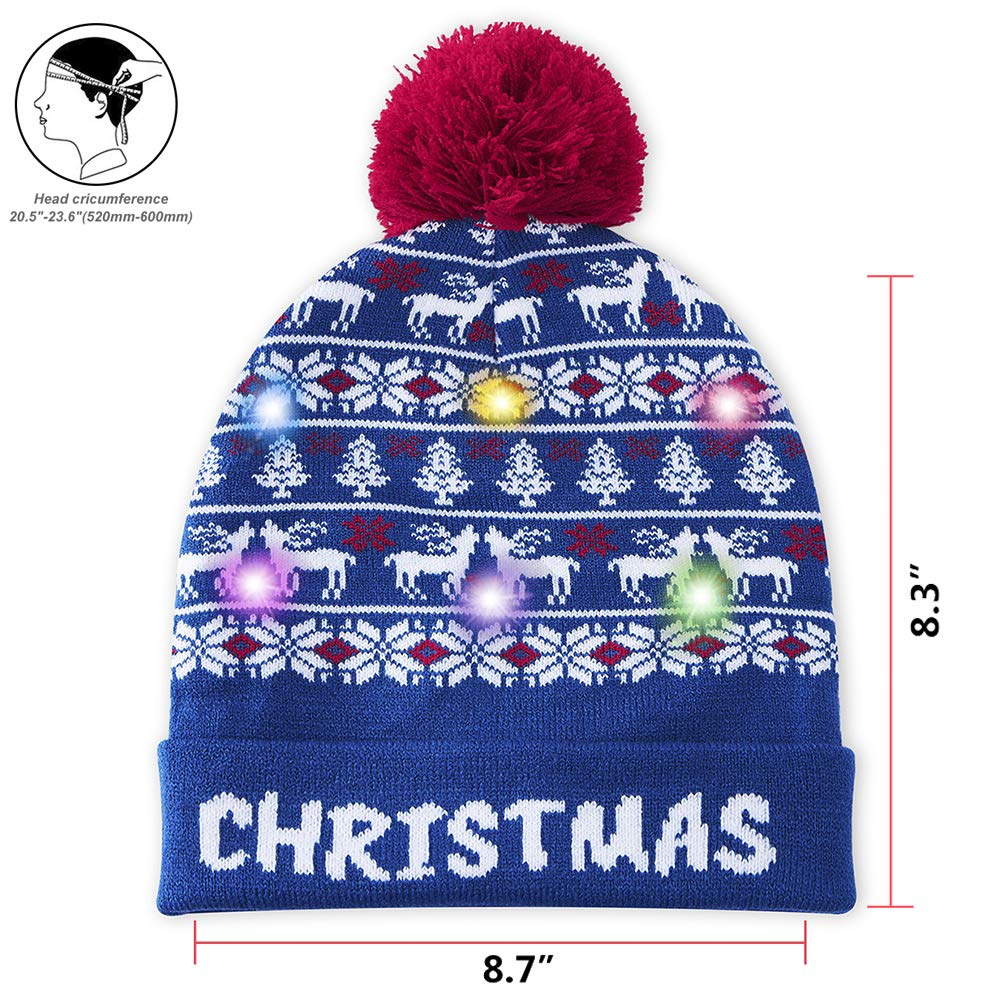 chicolife Christmas Hat Beanie Knit Cap with Fairisle Tree Snowflake Reindeer Printed Funny Xmas Hat Winter Snow Hat for Men Women Boys Girls