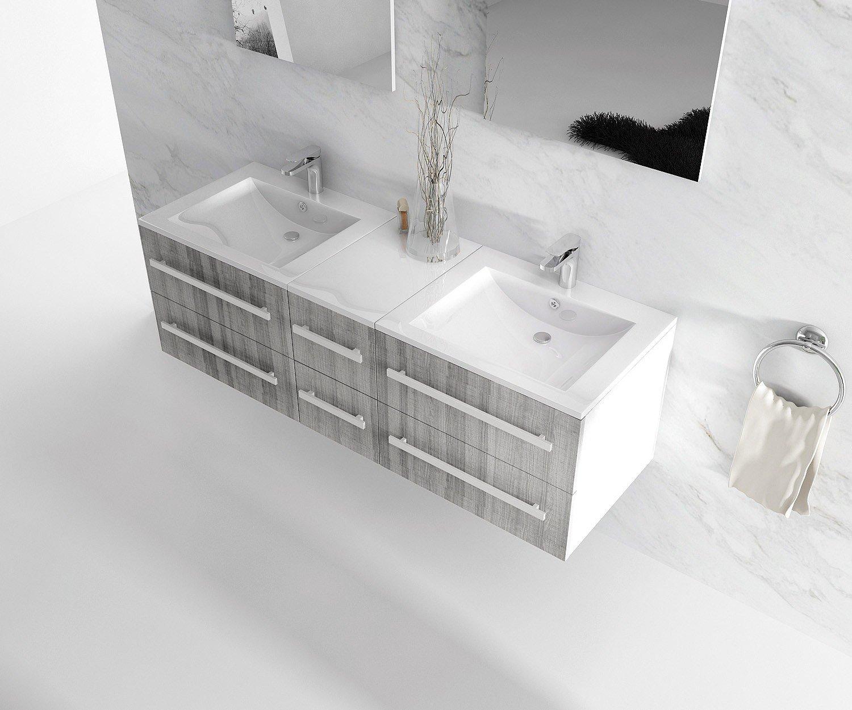 interougehome meuble de salle de bain double vasque coloris gris chin miroir mural avec 2 tagres latrales amazonfr cuisine maison