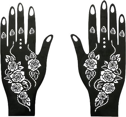 Plantillas de tatuaje temporales de la India Henna para manos ...