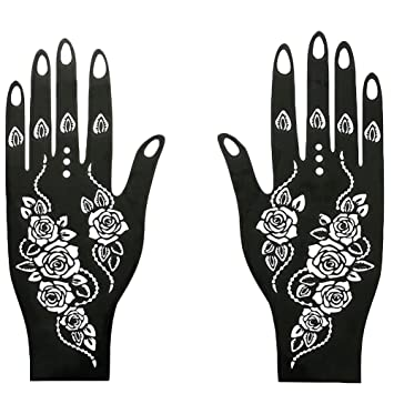 Amazon Com Reusable Henna Tattoo Stencil Exquisite Flower Temporary