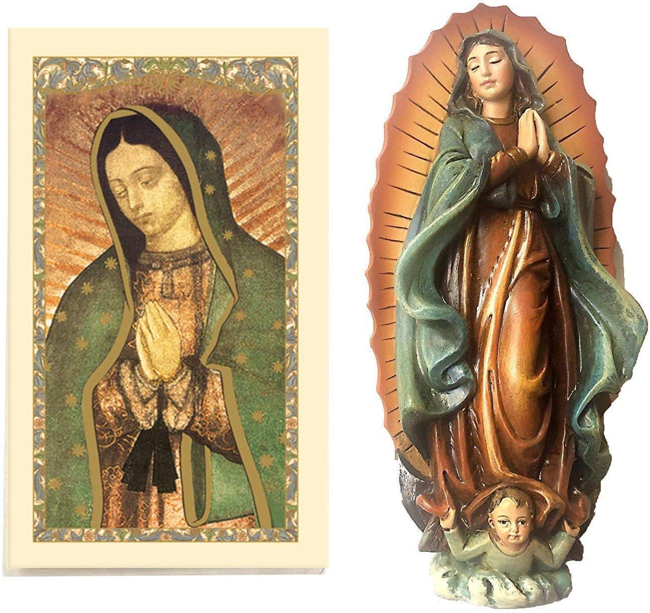 "Elysian Gift Shop 4"" Our Lady of Guadalupe Virgin Mary Statue with Laminated Prayer Card Included/Estatuilla de la Vigen de Guadalupe (4"" H) - Incluye Trajeta de Oracion"