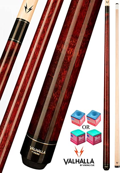 Amazon Com Valhalla Va110 By Viking 2 Piece Pool Cue Stick Mahogany No Wrap 16 21 Oz Plus Blue Master Chalk Sports Outdoors