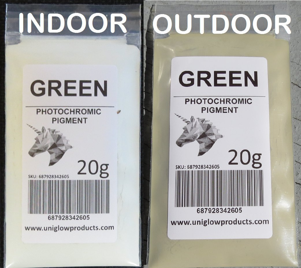 PhotoChromic Pigment changes colors when exposed to Sunlight or UV light, and reverts to its original color when sunlight is blocked. (100g, Green) by UniGlow Products LLC.