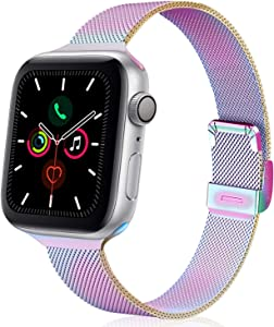 TRA Metal Slim Band Compatible for Apple Watch Band 38mm 40mm 42mm 44mm, Stainless Steel Mesh Adjustable Replacement Thin Strap Wristband for iWatch Series 5/4/3/2/1 Women & Men (Colorful, 38mm/40mm)